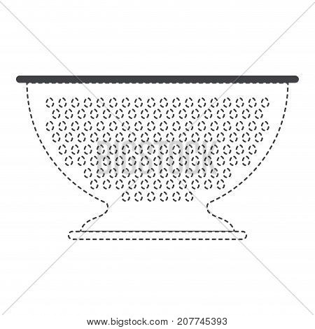 kitchen drainer utensil black silhouette and dotted contour vector illustration