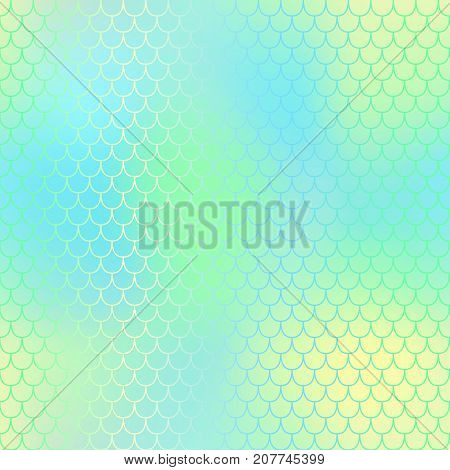 Magic mermaid fishscale pattern. Abstract blurry vector background. Fantastic fish skin seamless pattern. Mermaid scale background. Pastel colors fish scale seamless tile. Yellow aqua blurred mesh