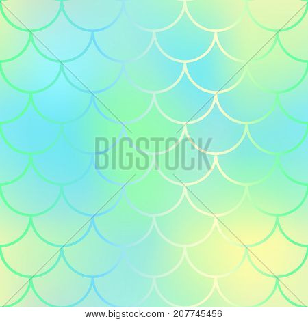 Magic mermaid fishscale pattern. Abstract blurry vector background. Fantastic fish skin seamless pattern. Mermaid scale background. Pastel colors fish scale seamless tile. Yellow mint blurred mesh
