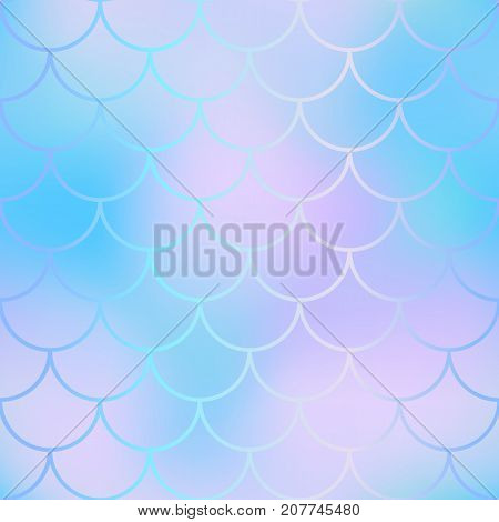 Magic mermaid fishscale pattern. Abstract blurry vector background. Fantastic fish skin seamless pattern. Mermaid scale background. Pastel colors fish scale seamless tile. Blue violet blurred mesh