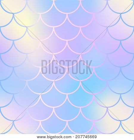 Magic mermaid fishscale pattern. Abstract blurry vector background. Fantastic fish skin seamless pattern. Mermaid scale background. Pastel colors fish scale seamless tile. Yellow purple blurred mesh