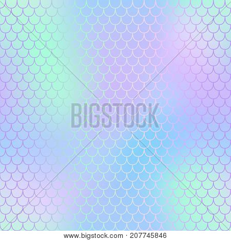 Mermaid skin or fish scale pattern. Pink blue mint gradient mesh. Abstract blurry vector background. Fantastic fish skin seamless pattern. Romantic mermaid scale background. Pastel colors fish scale