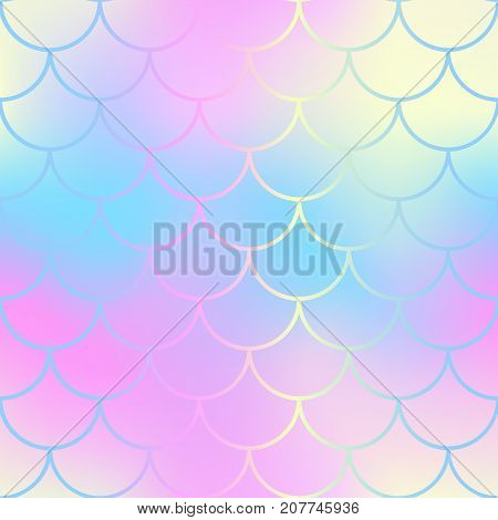 Mermaid skin or fish scale pattern. Pink blue yellow gradient mesh. Abstract blurry vector background. Fantastic fish skin seamless pattern. Romantic mermaid scale background. Pastel colors fish scale