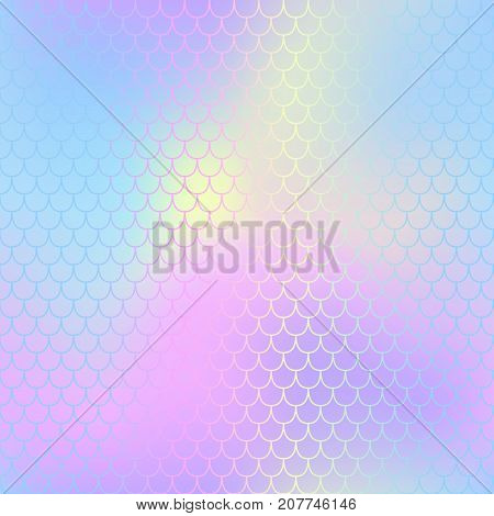 Mermaid skin or fish scale pattern. Pale pink blue gradient mesh. Abstract blurry vector background. Fantastic fish skin seamless pattern. Romantic mermaid scale background. Pastel colors fish scale