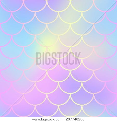 Mermaid skin or fish scale pattern. Pale yellow pink gradient mesh. Abstract blurry vector background. Fantastic fish skin seamless pattern. Romantic mermaid scale background. Pastel colors fish scale