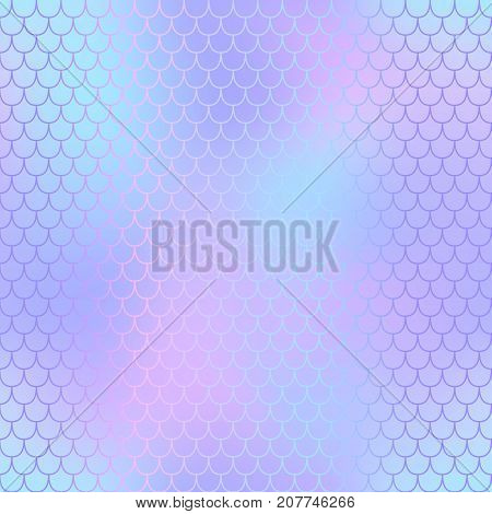 Mermaid skin or fish scale pattern. Blue pink purple gradient mesh. Abstract blurry vector background. Fantastic fish skin seamless pattern. Romantic mermaid scale background. Pastel colors fish scale