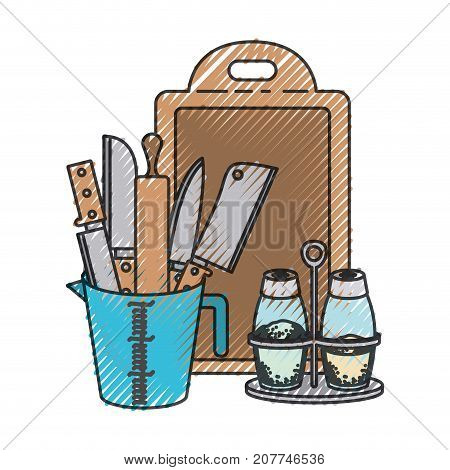 container with knives and rolling pin and salt and pepper containers and chopping board colored crayon silhouette vector illustration