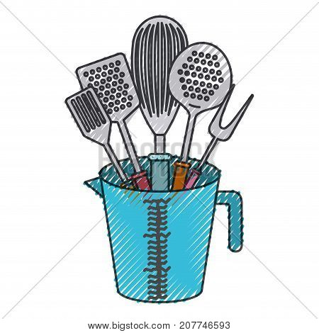 jar with kitchen utensils colored crayon silhouette vector illustration