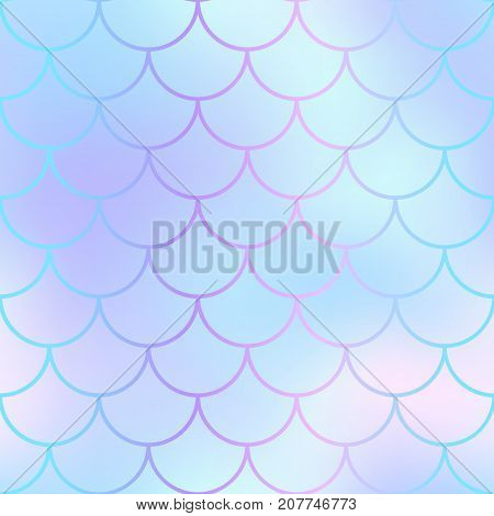 Mermaid skin or fish scale pattern. Pale violet blue gradient mesh. Abstract blurry vector background. Fantastic fish skin seamless pattern. Romantic mermaid scale background. Pastel colors fish scale