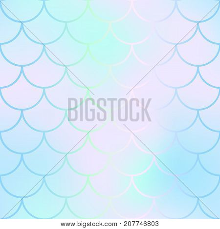 Mermaid skin or fish scale pattern. Pale pink mint gradient mesh. Abstract blurry vector background. Fantastic fish skin seamless pattern. Romantic mermaid scale background. Pastel colors fish scale