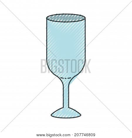 glass wine colored crayon silhouette vector illustration
