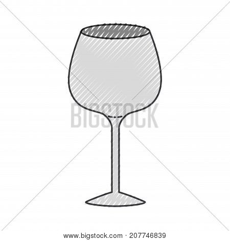 glass of champagne sour colored crayon silhouette vector illustration