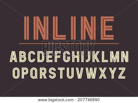Vector retro inline bold font design alphabet typeface typography. Vector illustration