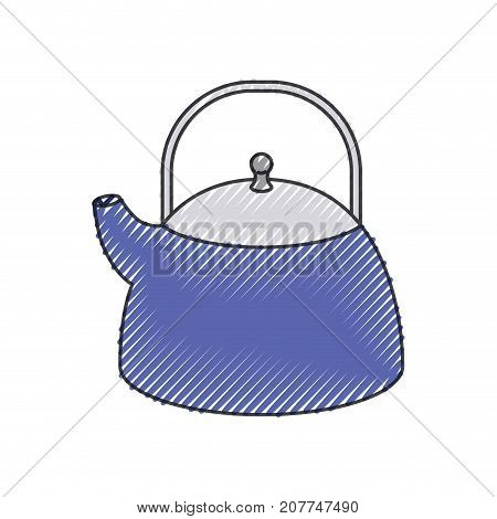 kettle jar utensil colored crayon silhouette vector illustration