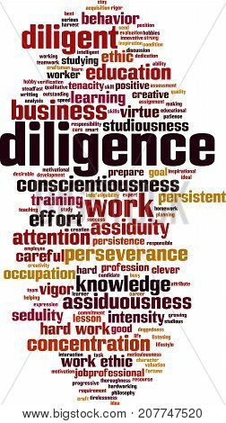 Diligence word cloud concept. Vector illustration on white