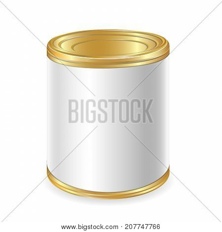 Realistic Blank Tin For Canned Food Preserve Conserve. Mock Up To Advertise Goods. Vector