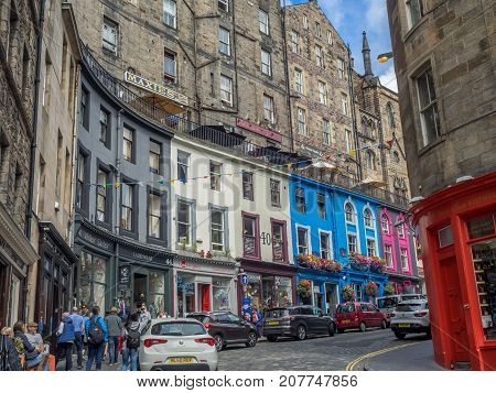 EDINBURGH, SCOTLAND - JULY 30: Looking up Victoria Street towards the Royal Mile on July 30, 2017 in Edinburgh Scotland. The Royal Mile is a popular attraction in Edinburgh and hosts many tourists.