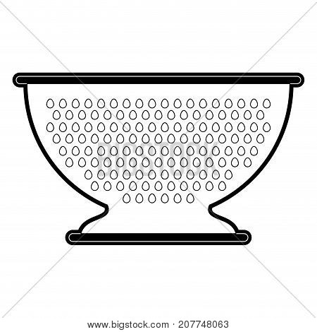 kitchen drainer utensil black silhouette vector illustration