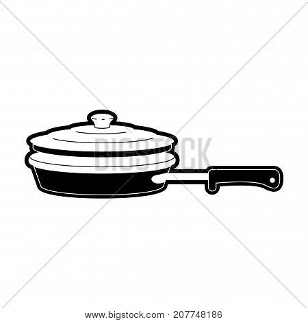 stewpan with handle and lid black silhouette vector illustration