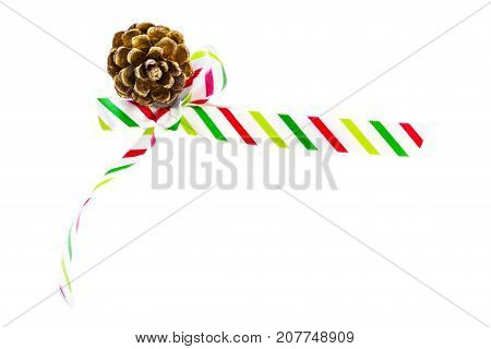 Shiny Silk Holiday Bow In Candy Cane Stripes And Golden Pinecone Isolated On White