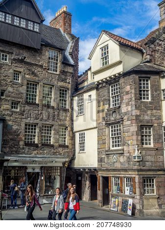 EDINBURGH, SCOTLAND - JULY 30: Exterior facade of John Knox house in Edinburgh on July 30 2017 in Edinburgh, Scotland. Former home of John Knox and one of two medieval buildings on the Royal Mile.