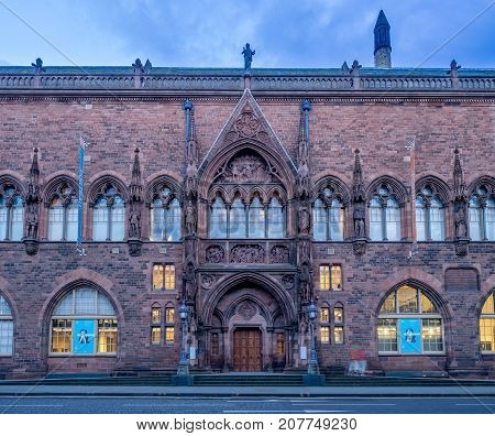EDINBURGH, SCOTLAND - JULY 30: Outside the Scottish National Portrait Gallery on July 30, 2017 in Edinburgh Scotland. The Scottish National Portrait Gallery is an important centre of European Art.