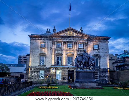 EDINBURGH, SCOTLAND - JULY 30: The Royal Bank of Scotland headquarters also known as Dundas House on July 30, 2017 in Edinburgh, Scotland. It was built in 1774 for the statesman Sir Lawrence Dundas.