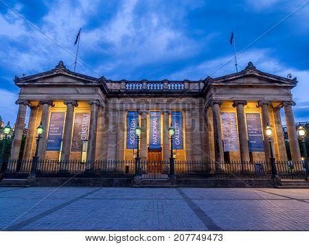 EDINBURGH, SCOTLAND - JULY 30: Outside the Scottish National Gallery on July 30, 2017 in Edinburgh Scotland. The Scottish National Gallery is an important centre of European Art.