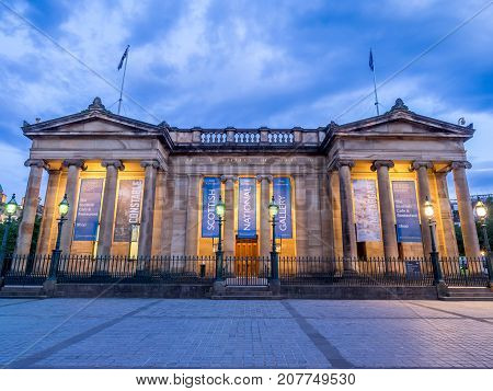 EDINBURGH, SCOTLAND - JULY 30: Outside the Scottish National Gallery on July 30, 2017 in Edinburgh Scotland. The Scottish National Gallery is an important centre of European Art.