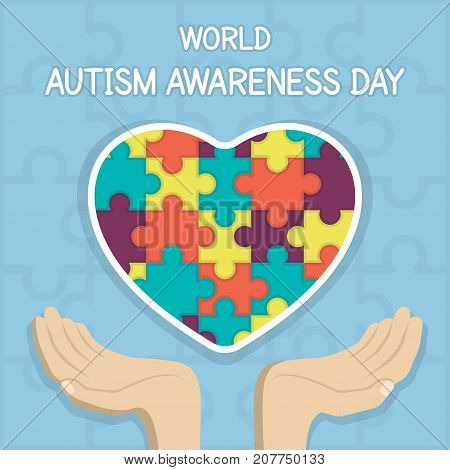 WorldAutism Awareness Day, 2 April. Puzzle or jigsaw pattern on heart with hands conceptual illustration vector.