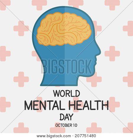 World Mental Health Day, 10 October. Human brain conceptual illustration vector.