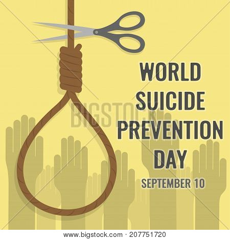 World Suicide Prevention Day, 10th September. Noose Knot and cutting scissors concept illustration vector.