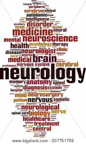 Neurology word cloud concept. Vector illustration on white
