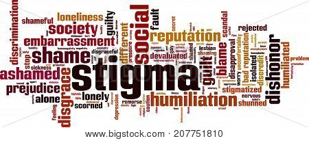 Stigma word cloud concept. Vector illustration on white