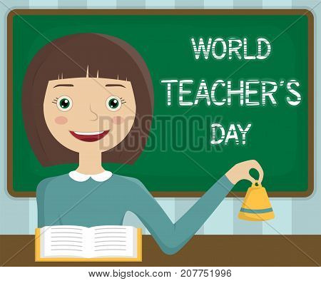 World Teachers Day, 5 October. Teacher in a classroom conceptual illustration vector.