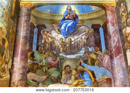 ROME, ITALY - JANUARY 20, 2917 Mary Angels Fresco Trinita Dei Monti Church Spanish Steps Rome Italy. Chruch originally built in 1585. Assumption of Virgin Mary by Michelangelo pupil Daniele Volterra in 1500s