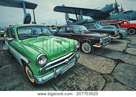 KYIV, UKRAINE - OCTOBER 2017: Soviet vintage car Moskvich is presented at the