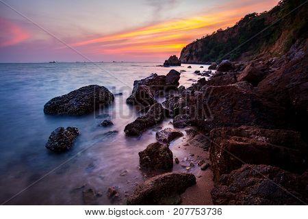 sunset sky at laem chabang coast in chonburi eastern of thailand