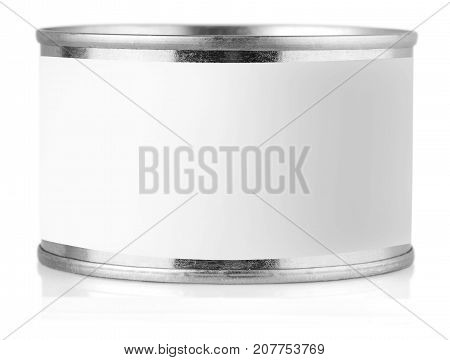 Cover tin with label isolated on white background