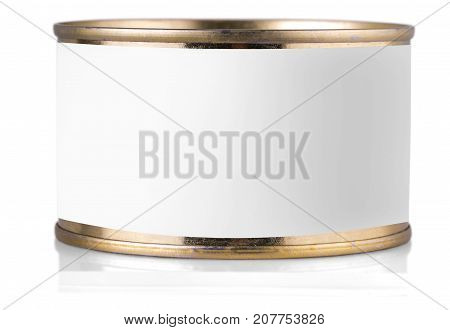 golden tin can with label on isolated white background