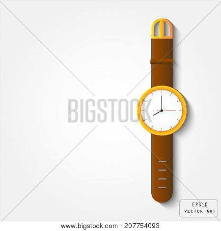 Gold watch with leather strap vector design on white background