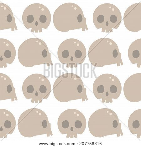 Style skulls faces seamless pattern background vector illustration halloween horror style tattoo anatomy art. Cartoon decoration gothic human skeleton symbol graphic sketch spooky vintage sign.