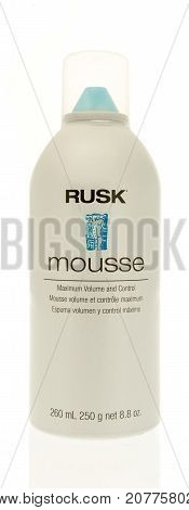 Winneconne WI - 29 September 2017: A bottle of Rusk mousse on an isolated background.