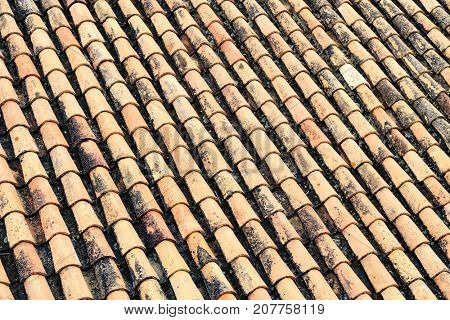 Closeup shot of background of old roof tiles