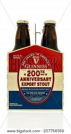 Winneconne WI - 4 October 2017: A Six pack of Guinness 200th anniversary stout beer on an isolated background.