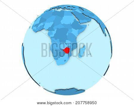 Zimbabwe On Blue Globe Isolated