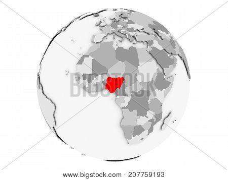 Nigeria On Grey Globe Isolated