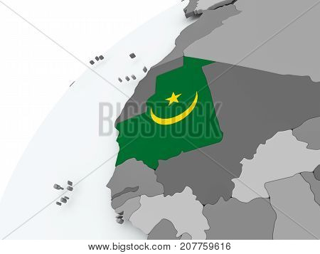 Flag Of Mauritania On Grey Globe