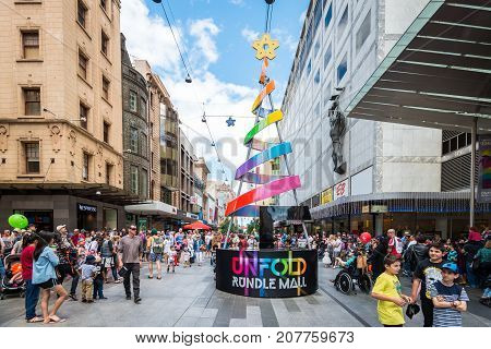 Adelaide Australia - November 14 2015: Big crowd of people visiting Rundle Mall precinct after Christmas Pageant