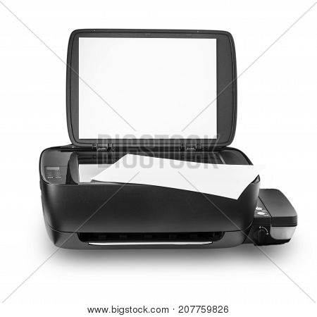 multi-function printer with internal ink tank is isolated white background.